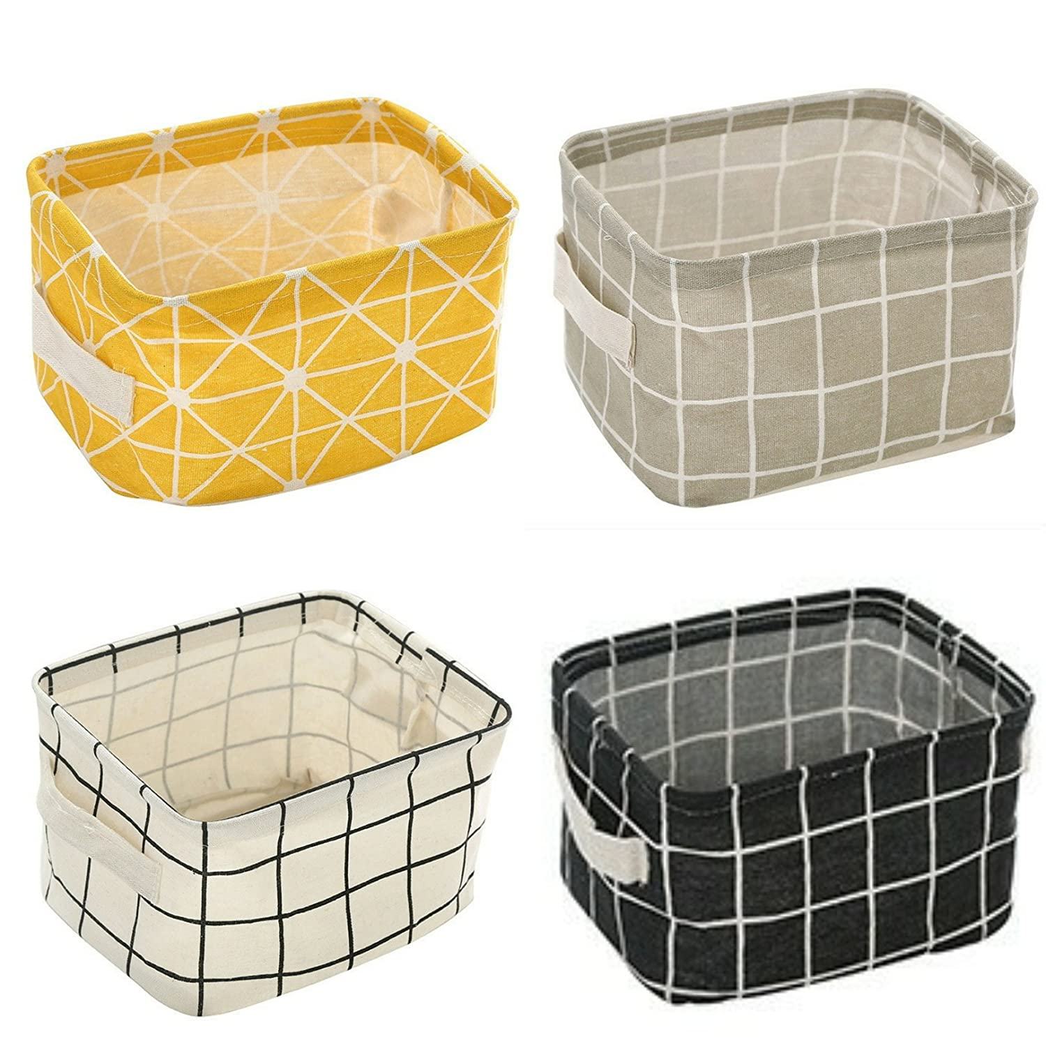 Miaro 4 Pack Canvas Storage Basket Bins, Home Decor Organizers Bag for Adult Makeup, Baby Toys Liners, Books (4 Pack, Yellow Checks)