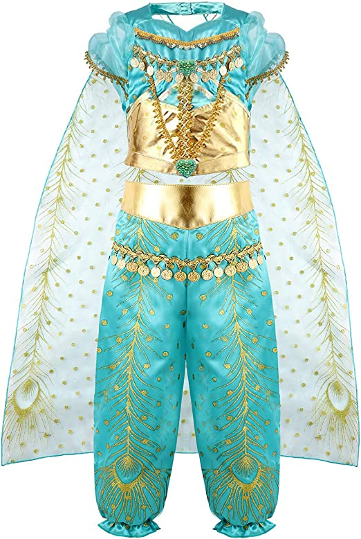vamei Disfraz Niña Jasmine Vestido Traje Princesa Jasmine para ...