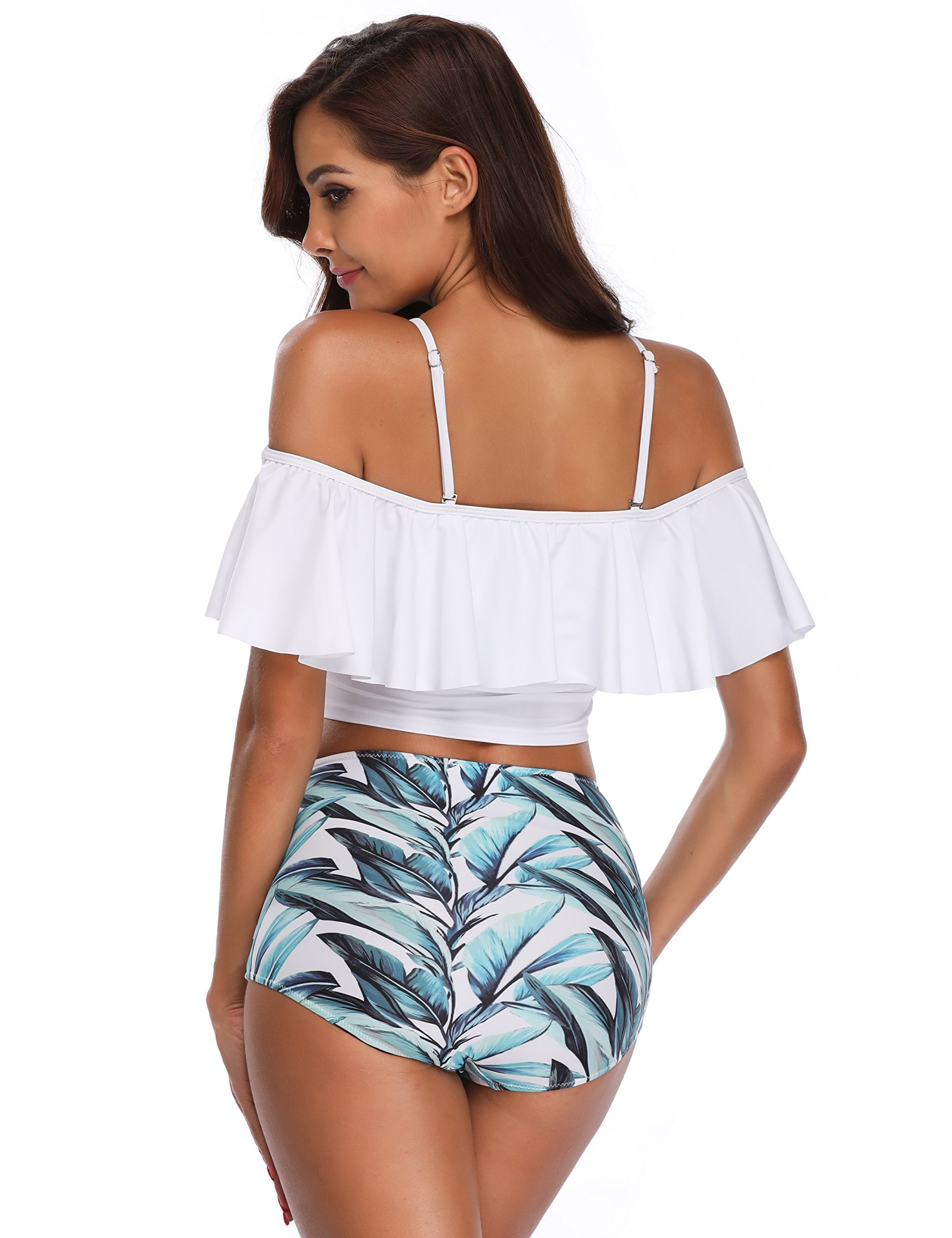 MarinaVida Women Off Shoulder Ruffle Swimsuit Crop Top Two Piece Bathing Suit