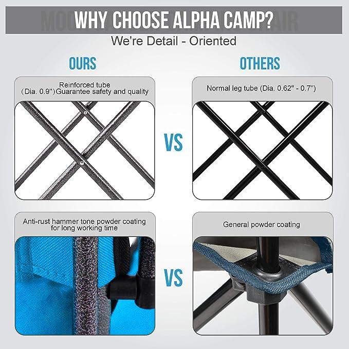 ALPHA CAMP Moonchair Chaise de Camping Pliante avec Sac de Transport et Porte-gobelet 150 kg