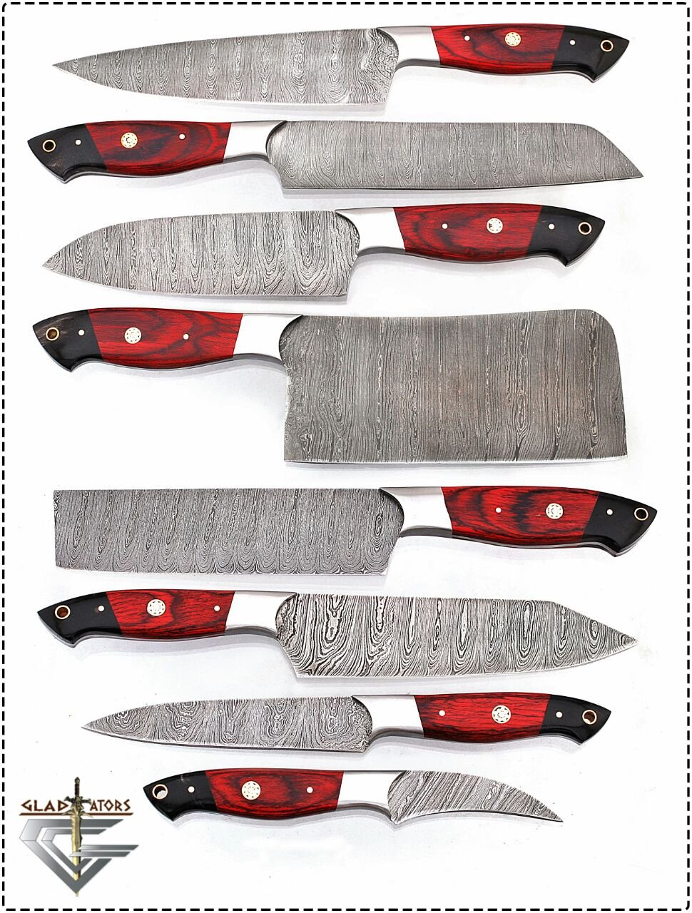 G16Red- Professional Kitchen Knives Custom Made Damascus Steel pcs of Professional Utility Chef Kitchen Knife Set with Chopper/Cleaver Black Horn (at end) GladiatorsGuild (8, Red)
