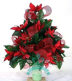 beautiful xl christmas red poinsettias with deco mesh cemetery vase arrangement