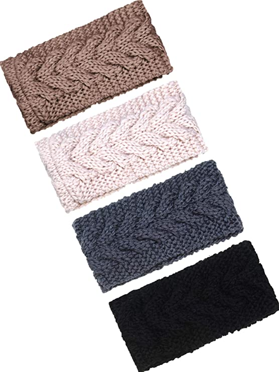 TecUnite 4 Pieces Chunky Knit Headbands Braided Winter Headbands Ear Warmers Crochet Head Wraps for Women Girls (Color Set 11)