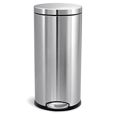 simplehuman 30L / 8 Gallon Round Step Trash Can, Brushed Stainless Steel