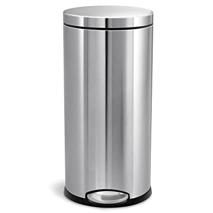 Simplehuman 30 Liter/8 Gallon Stainless Steel Round Kitchen Step Trash Can,  Brushed Stainless