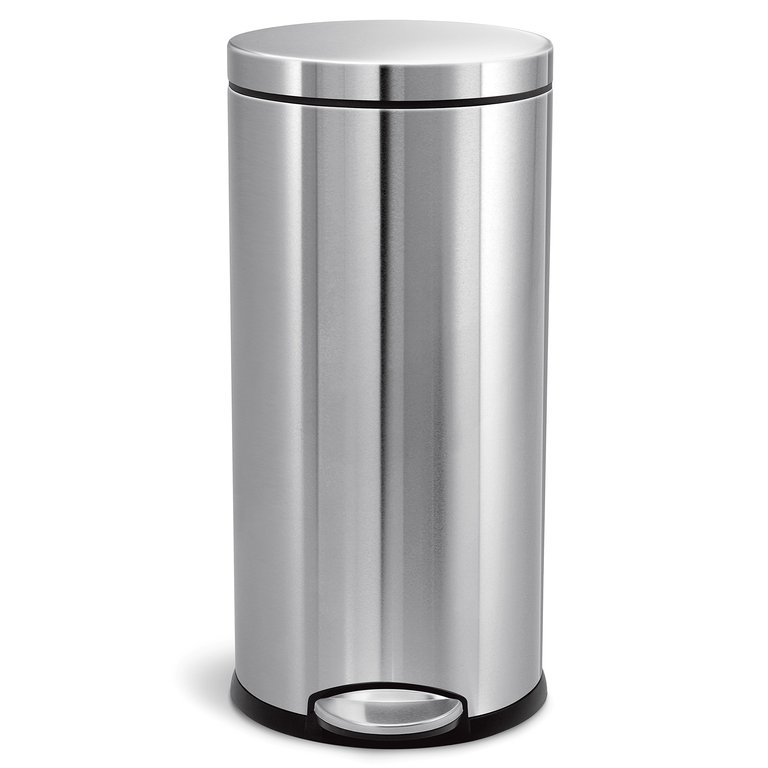 simplehuman 30 Liter/8 Gallon Stainless Steel Round Kitchen Step Trash Can, Brushed Stainless Steel by simplehuman