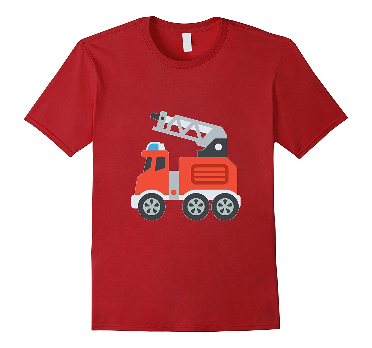 Fire Truck Emoji T-Shirt Emergency Engine Fireman Hero-TH