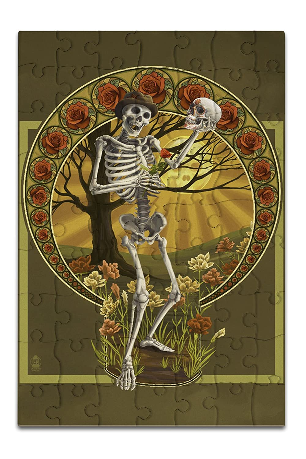 Day of the Dead - Skeleton Holding Sugar Skull (8x12 Premium Acrylic Puzzle, 63 Pieces)