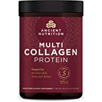 Ancient Nutrition Multi Collagen Protein Powder - Pure, Formulated by Dr. Josh Axe, 5 Types of Food Sourced Collagen Peptides, Supports Joints, Skin and Nails, Made Without Gluten & Dairy, 16.2 oz