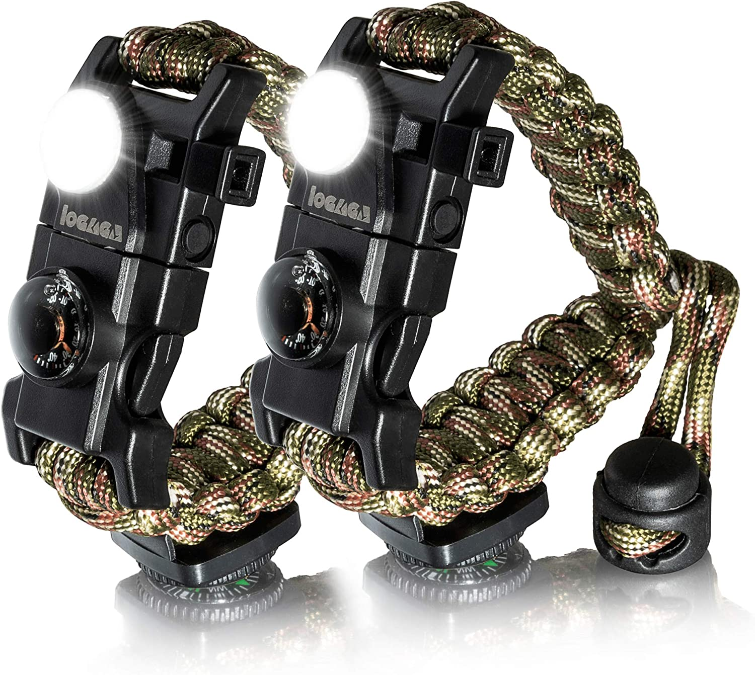 Useful and Practical Army Green Camouflage Outdoor Survival Compass Bracelet Whistle Gear Flint Fire Starter Bracelet
