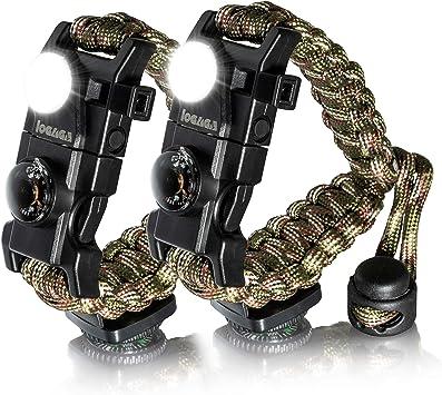 LED Survival Tactical Bracelet Outdoor Paracord Scraper Whistle Flint Fire Gear