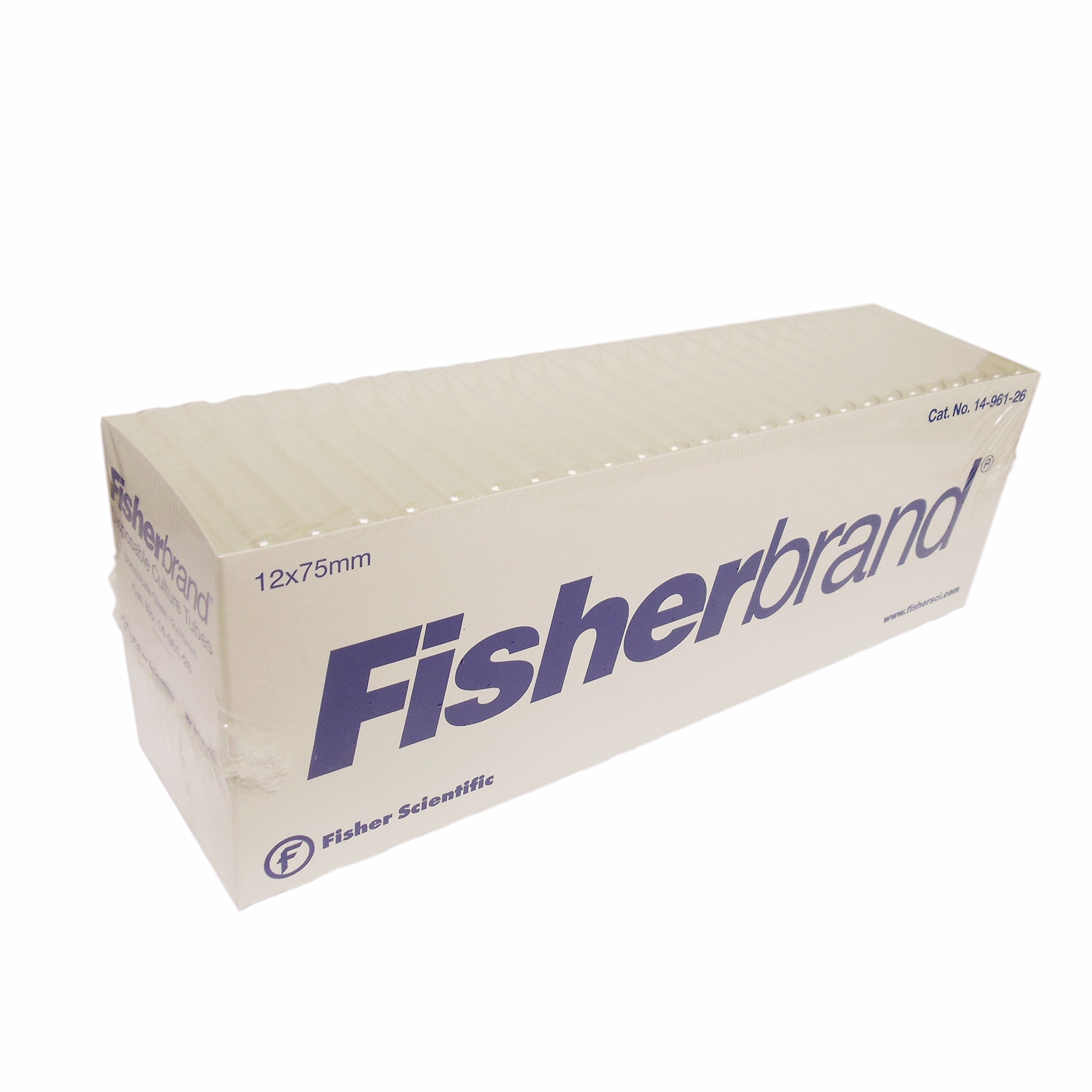 Fisherbrand Scientific Disposable Culture Tubes, Round Bottom, Plain End, Borosilicate Glass, (Outside Diameter) 12 X 75mm , (Cat No.) 14-961-26, 250 Count, 12x75mm, 4 Boxes (1000 Total Count)