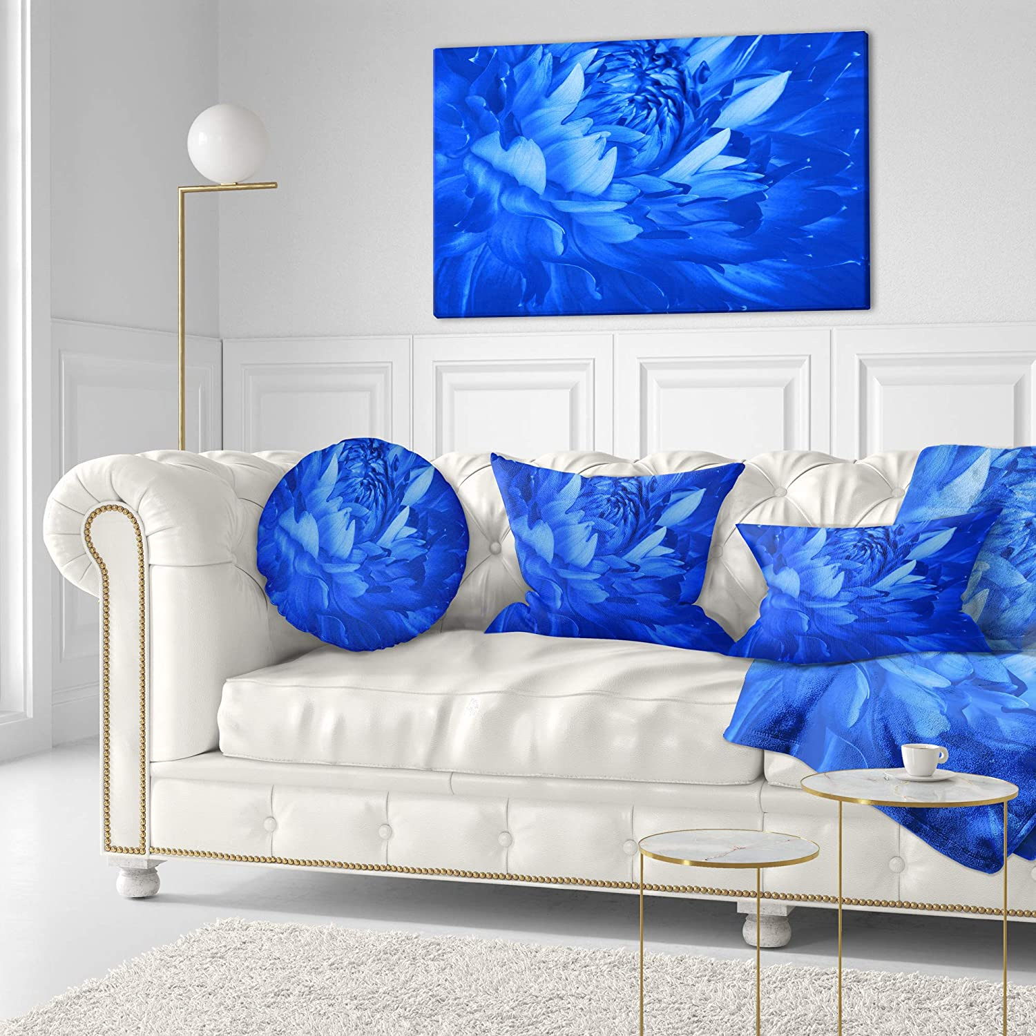 Designart CU12653-20-20-C Bright Blue Flower Petals Floral Round Cushion Cover for Living Room Insert Printed On Both Side Sofa Throw Pillow 20