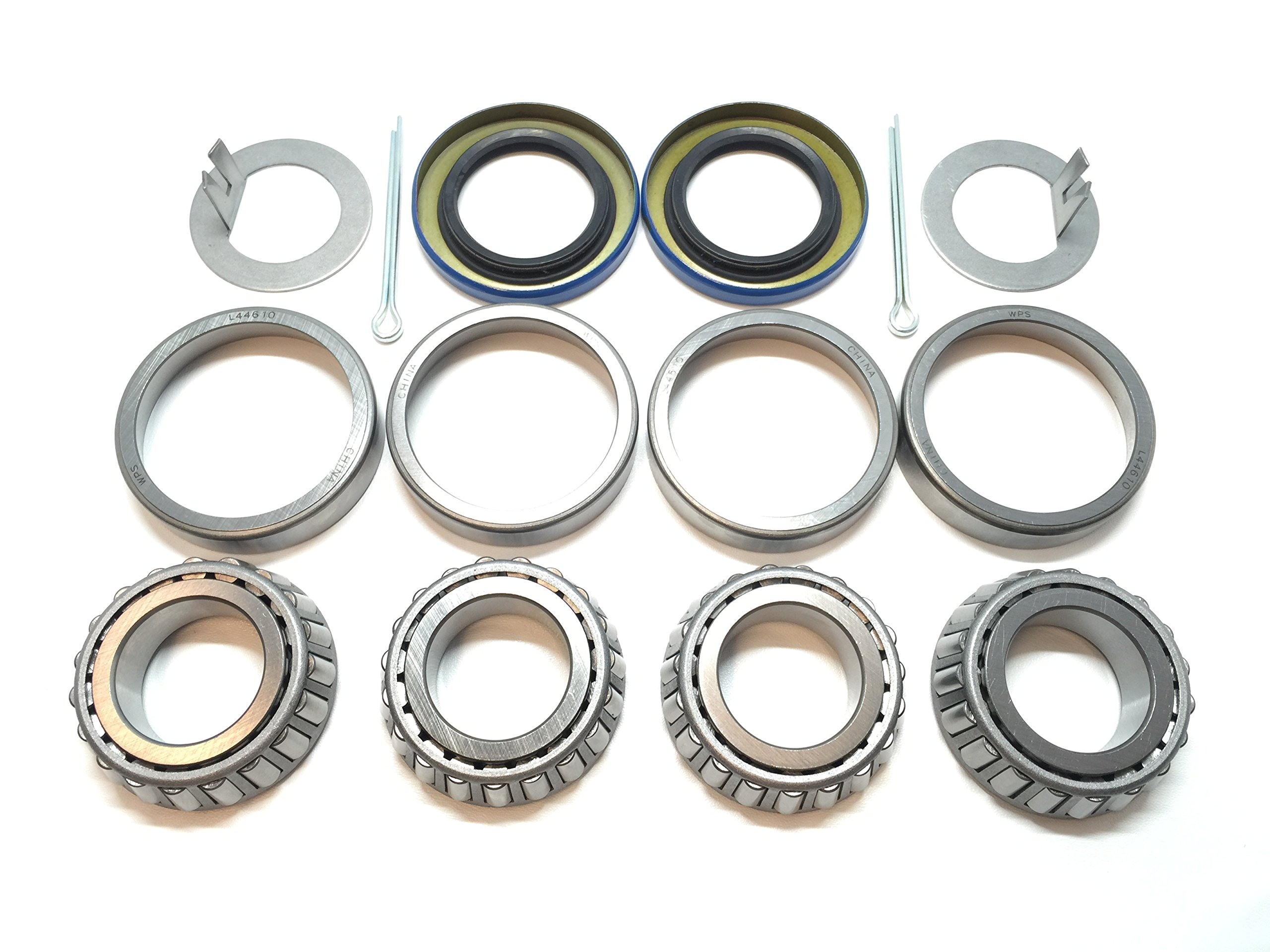 (Set of 2) WPS Trailer Axle Hub Wheel Bearing Kits L44643 L44610 Spindle 1.000'' (1-Inch) Grease Seal 12192TB I.D. 1.249'' for 2000# EZ Lube Axles