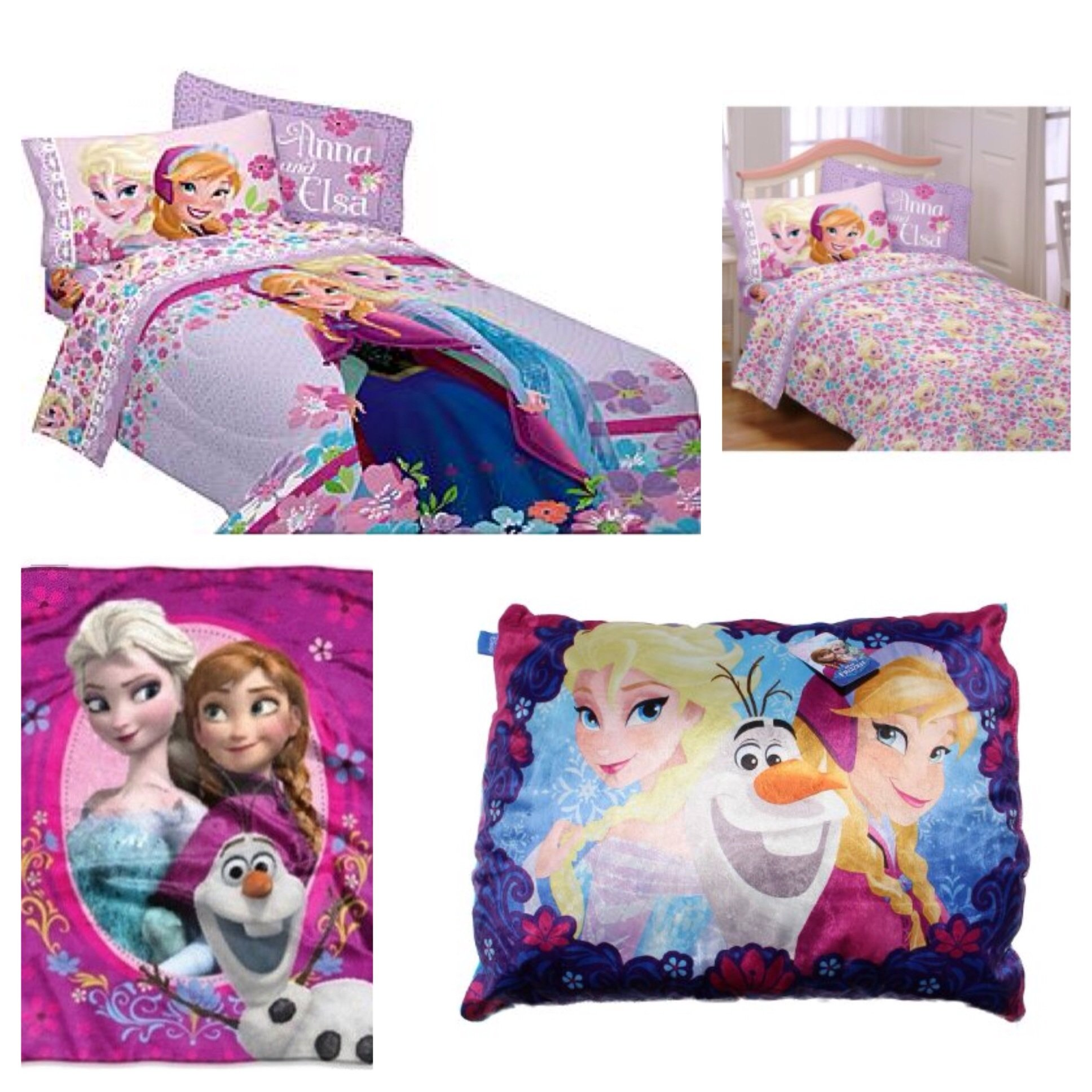 Disney Frozen Love Blooms Complete 6 Piece Twin Bed in a Bag - Comforter, 3 Piece Sheet Set, Spring Zing Plush Throw, Frozen Plush Standard Bed Pillow