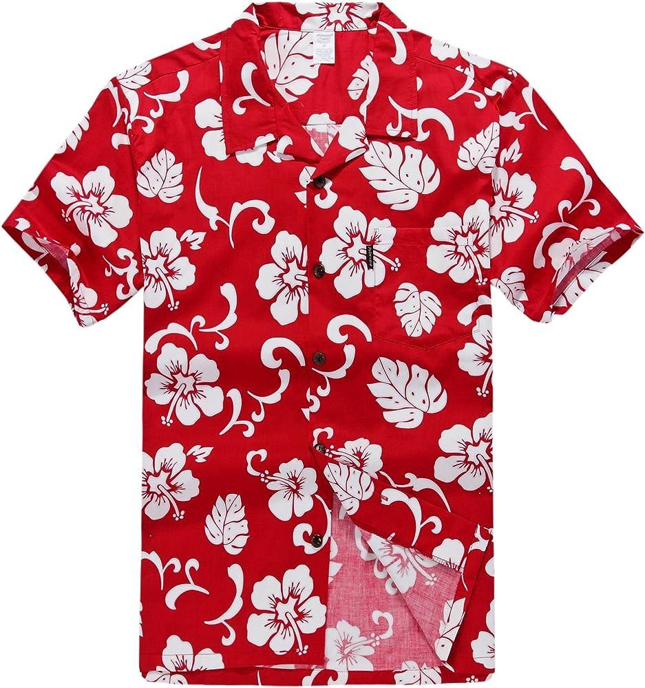 Hombres Aloha camisa hawaiana en Hibisco Rojo S: Amazon.es: Ropa y accesorios