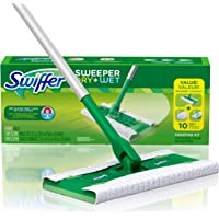 Sweeper Dry and Wet Floor Mopping and Cleaning Starter Kit, All Purpose Floor Cleaning Products, Includes: 1 Mop, 7 Dry Pads, 3 Wet Pads
