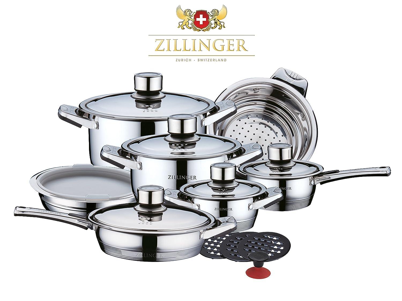 zillinger Swiss 17 piezas Deluxe - Set de ollas y sartenes - Batería de cocina de acero inoxidable 18/10, para inducción) con impact-bonded tecnología: ...