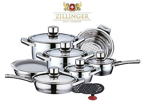 zillinger Swiss 17 piezas Deluxe – Set de ollas y sartenes – Batería de cocina de