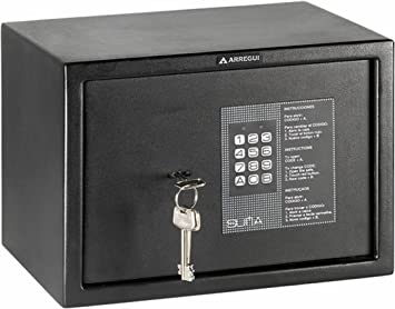 Arregui 31010 Caja fuerte de sobreponer electrónica con llave. 350x250x250 mm, Negro texturado, 350 x 250 x 250 mm: Amazon.es: Bricolaje y herramientas