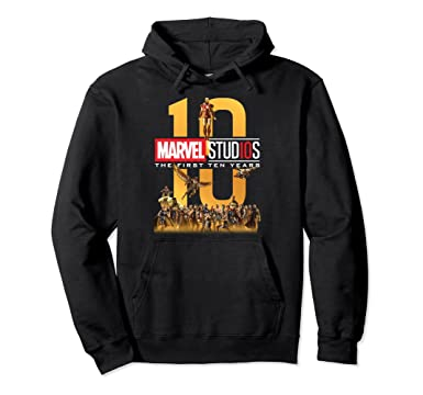 af7266f63 Amazon.com: Marvel Studios First Ten Years Full Cast Graphic Hoodie:  Clothing