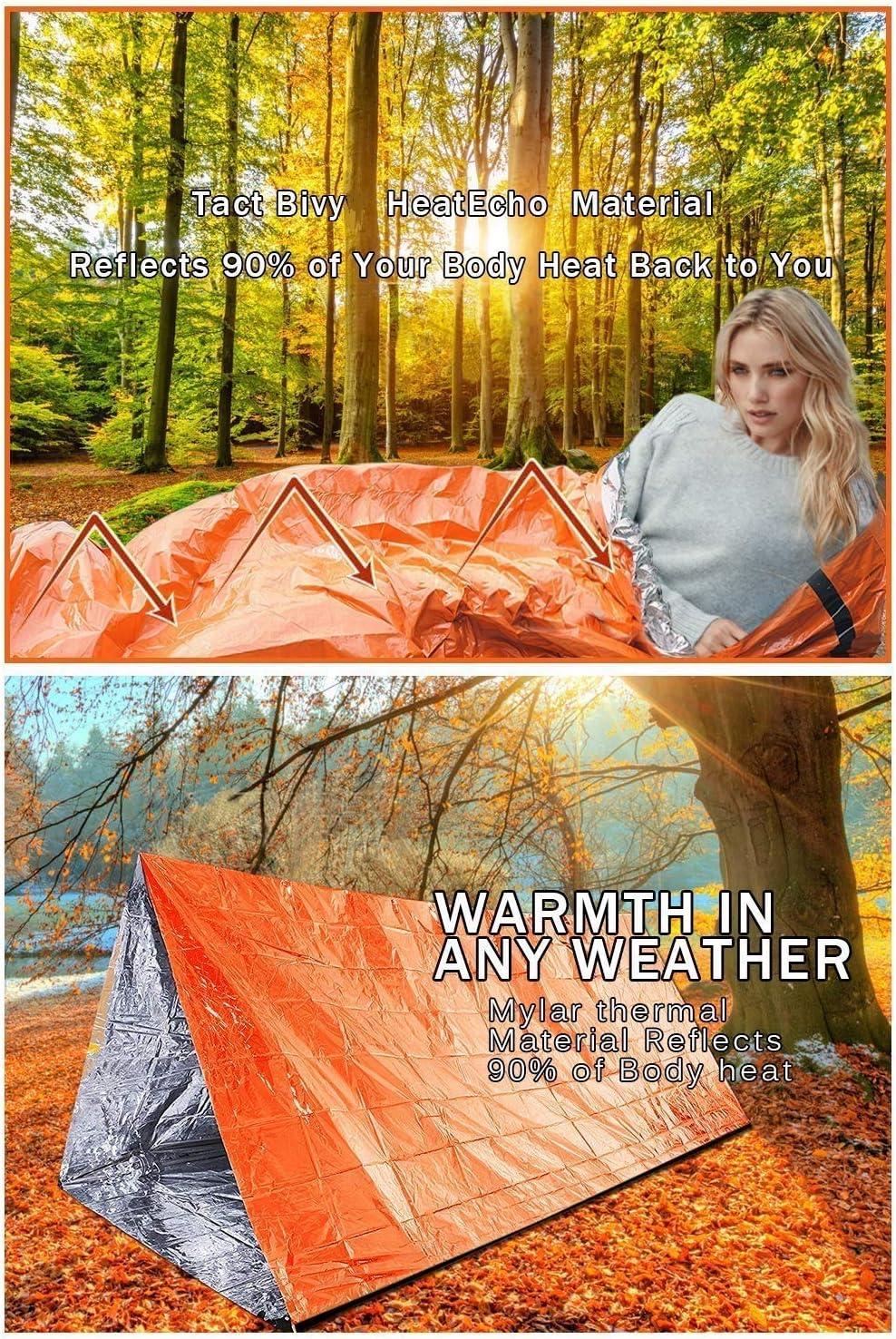 KKmoon Sac de Couchage de Premiers Secours 210 x 130CM Couverture de Survie Reutilisable Tente de Camping en Plein air Chaleur R/éfl/échissante et Coupe-Vent Imperm/éable
