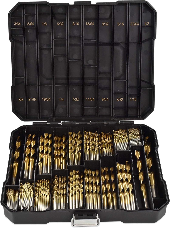 Segomo Tools 230 Piece 135 Degree High Speed HSS Titanium Coated Twist//Spiral Drill Bit Set DB230