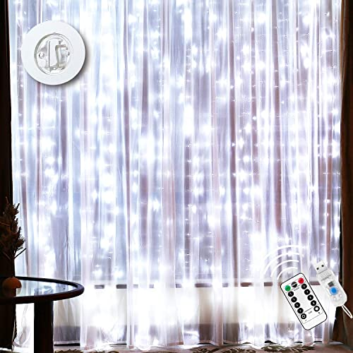 Curtain Lights Waterproof 15 Strings 300 LED Curtain String Lights 10x10Ft with 16Ft USB Power Wire 8 Modes Remote Timer Icicle Fairy Lights for Indoor Outdoor Bedroom Christmas Wedding Party, White