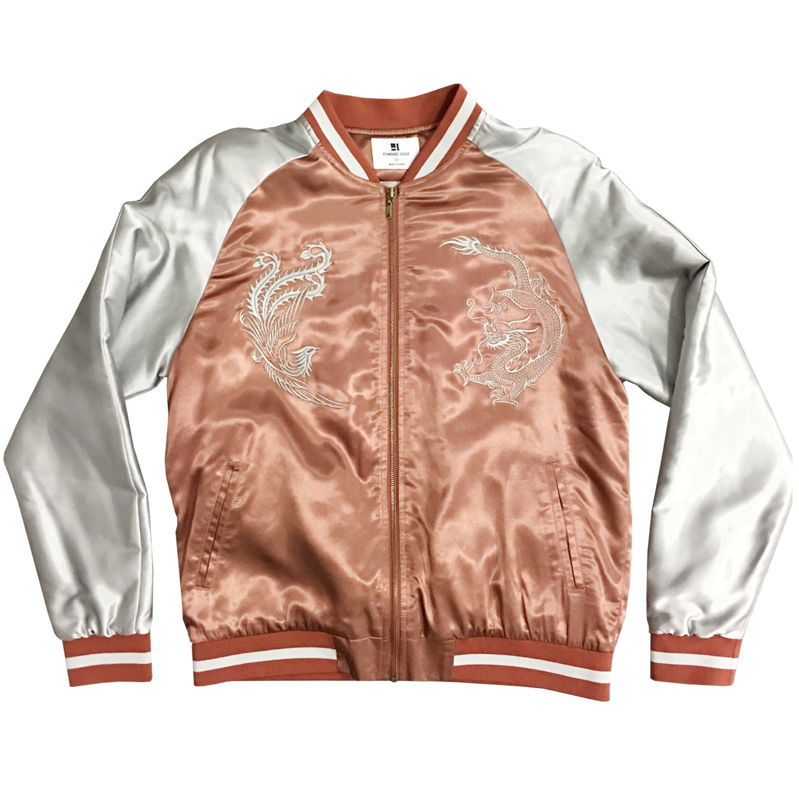 Standard Issue Embroidered Phoenix Dragon Souvenir Jacket - Rose/Silver