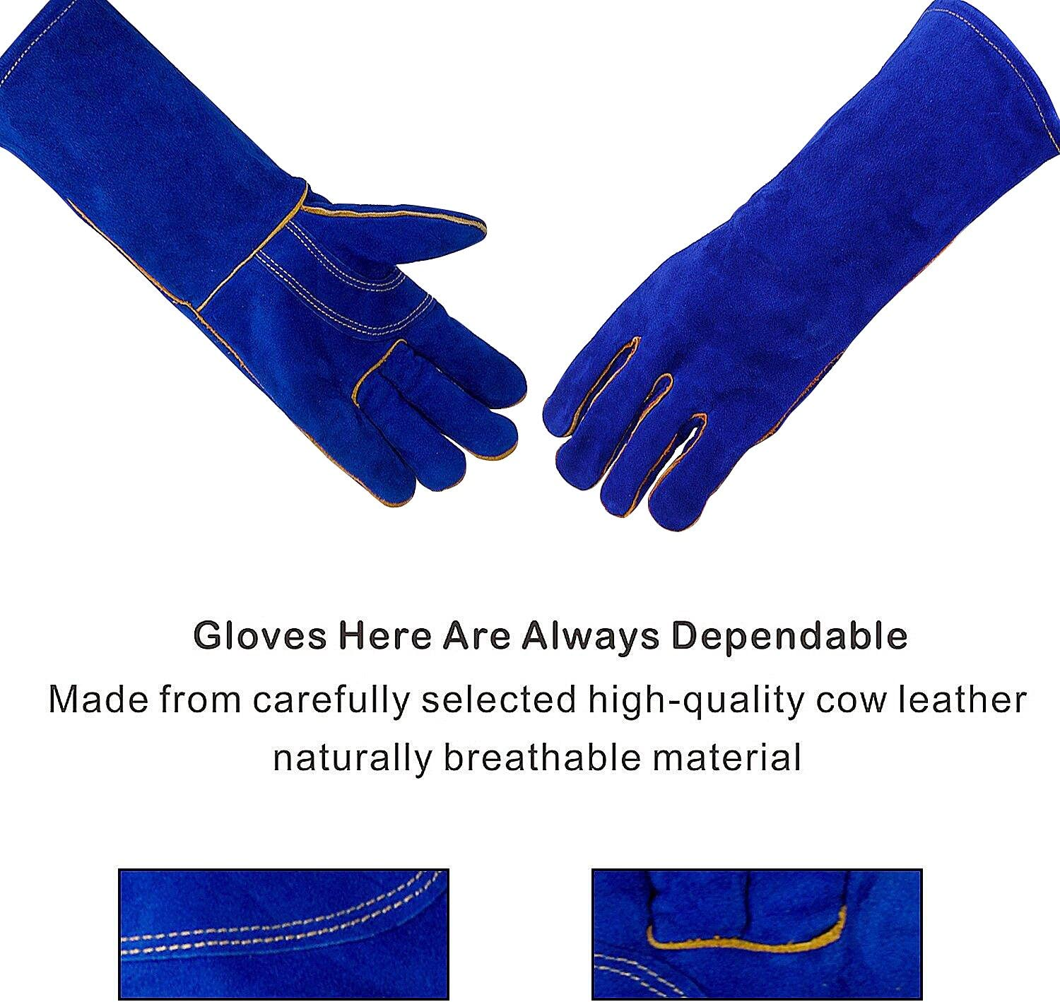NPL Extreme Heat/&Fire Resistant Gloves Leather with Kevlar Stitching Mitts Perfect for Welding Oven Grill BBQ Mig Fireplace Stove Pot Holder Tig Welder Animal Handling14in Blue