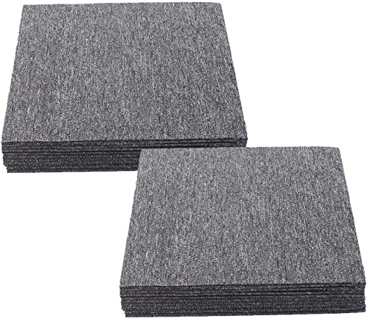 Bodenfliesen mit rutschhemmendem Vinyl-R/ücken Fliesen Teppiche je 50x50 cm Hellgrau, 4 St/ück robuster Teppichboden 1 m/² Teppichfliesen selbstliegend Lyon f/ür B/üro /& Gewerbe