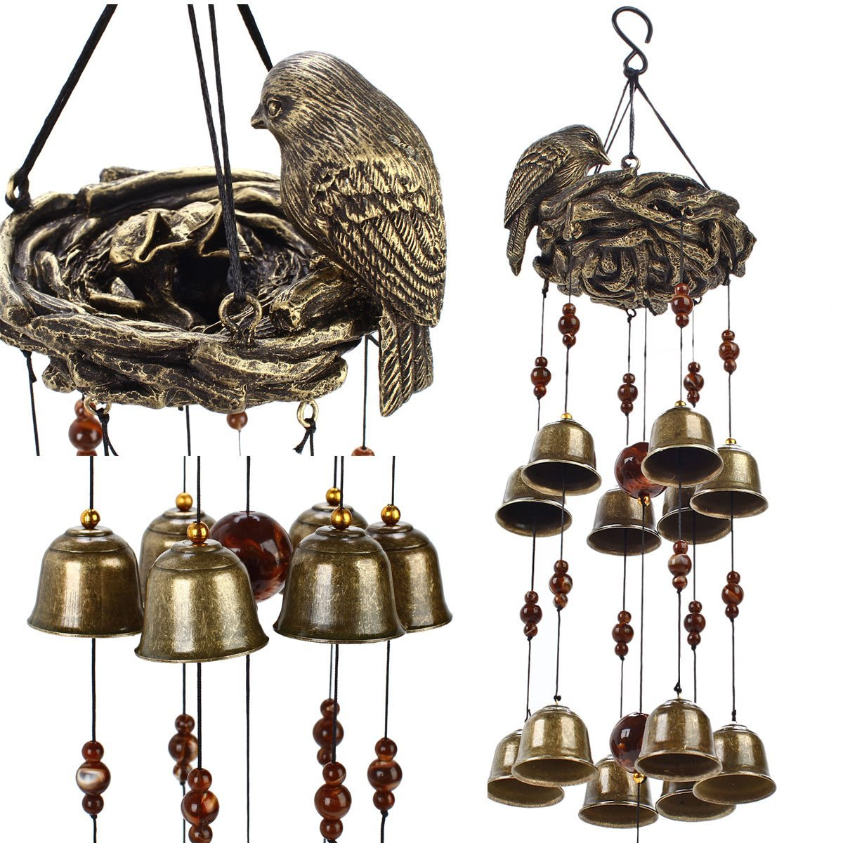 Ylyycc® New birds and nest wind chime 12pieces bells wind chime bronze color