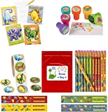 Dinosaur Kid's Party Favor Bundle Pack 130 pc (12 Stamps, 12 Notepads, 12 Pencils, 100 pc roll stickers) by Multiple