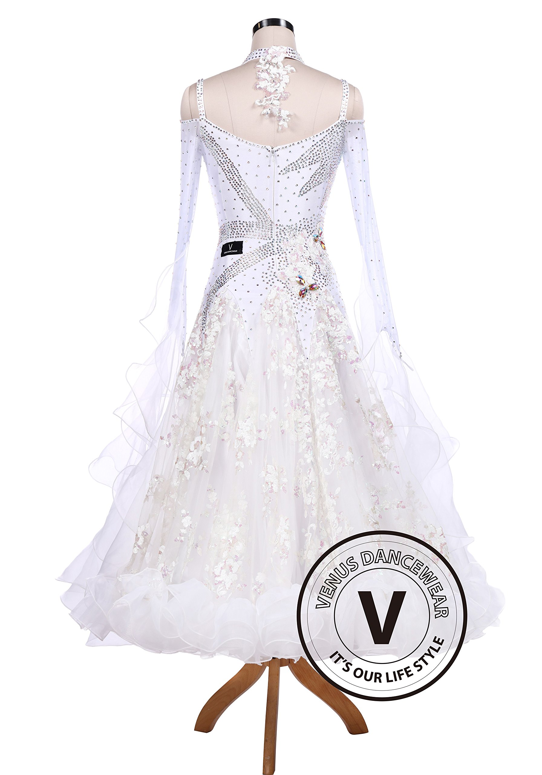 White Sequin Embroidered Ballroom Competition Dance Dress by Venus Dancewear (Image #4)