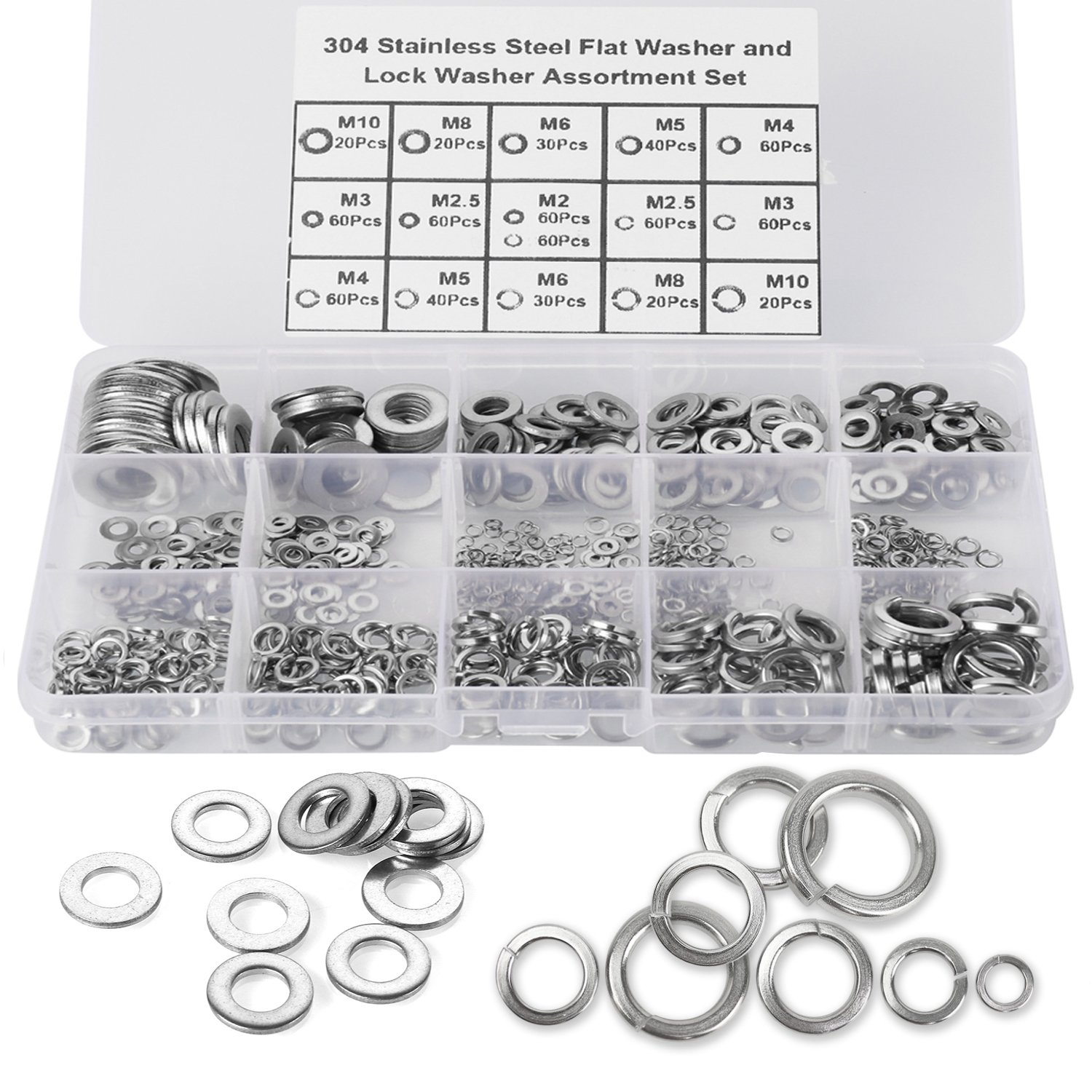 HanTof 700pcs [8-Size] 304 Stainless Steel Flat Washer and Lock Washer Assortment Set 8 Sizes-M2 M2.5 M3 M4 M5 M6 M8 M10