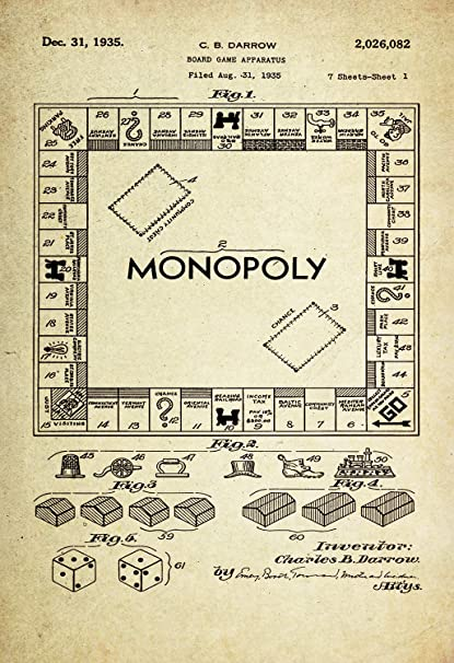 amazon com monopoly game board patent poster wall decor 1935 by