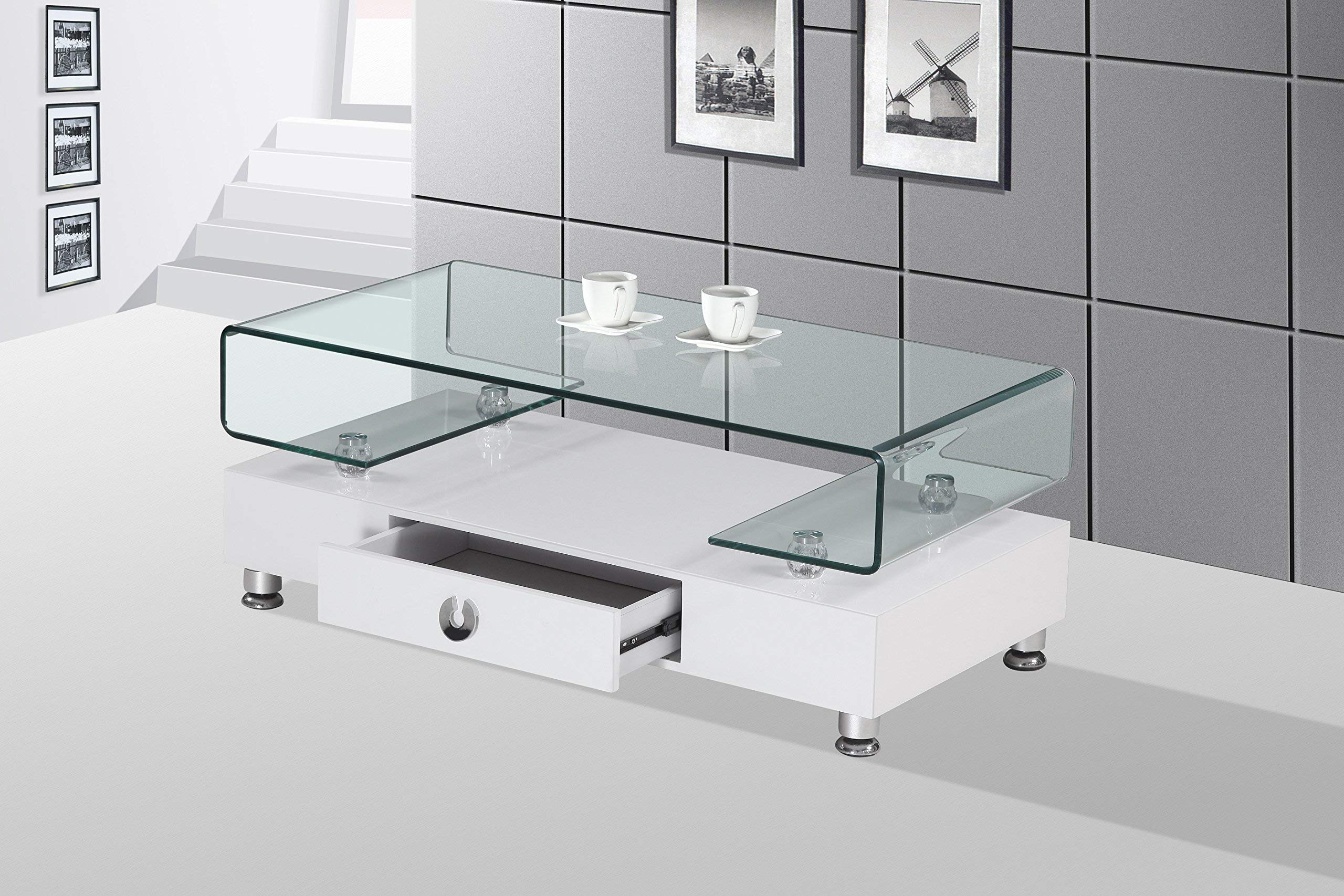 Best Quality Furniture CT35 Glass Top Coffee Table, White by Best Quality
