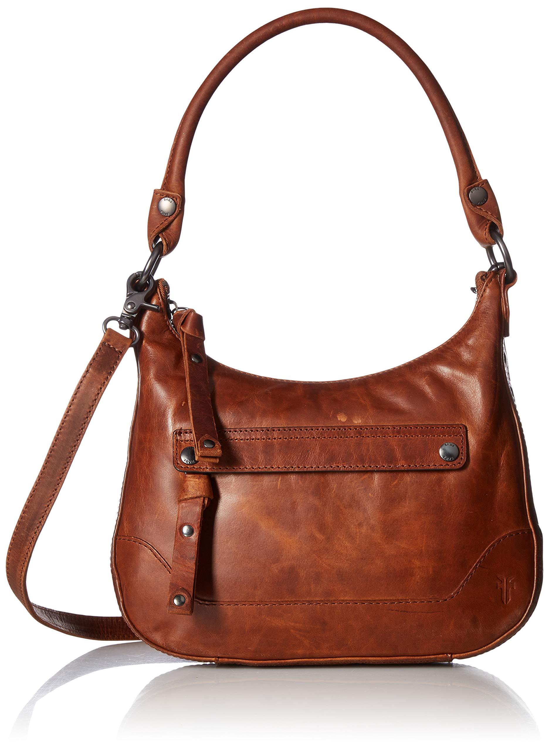 FRYE Melissa Zip Small Leather Hobo Crossbody, cognac