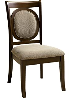 Furniture Of America Priam Formal Padded Fabric Side Chair, Dark Walnut  Finish, Set Of