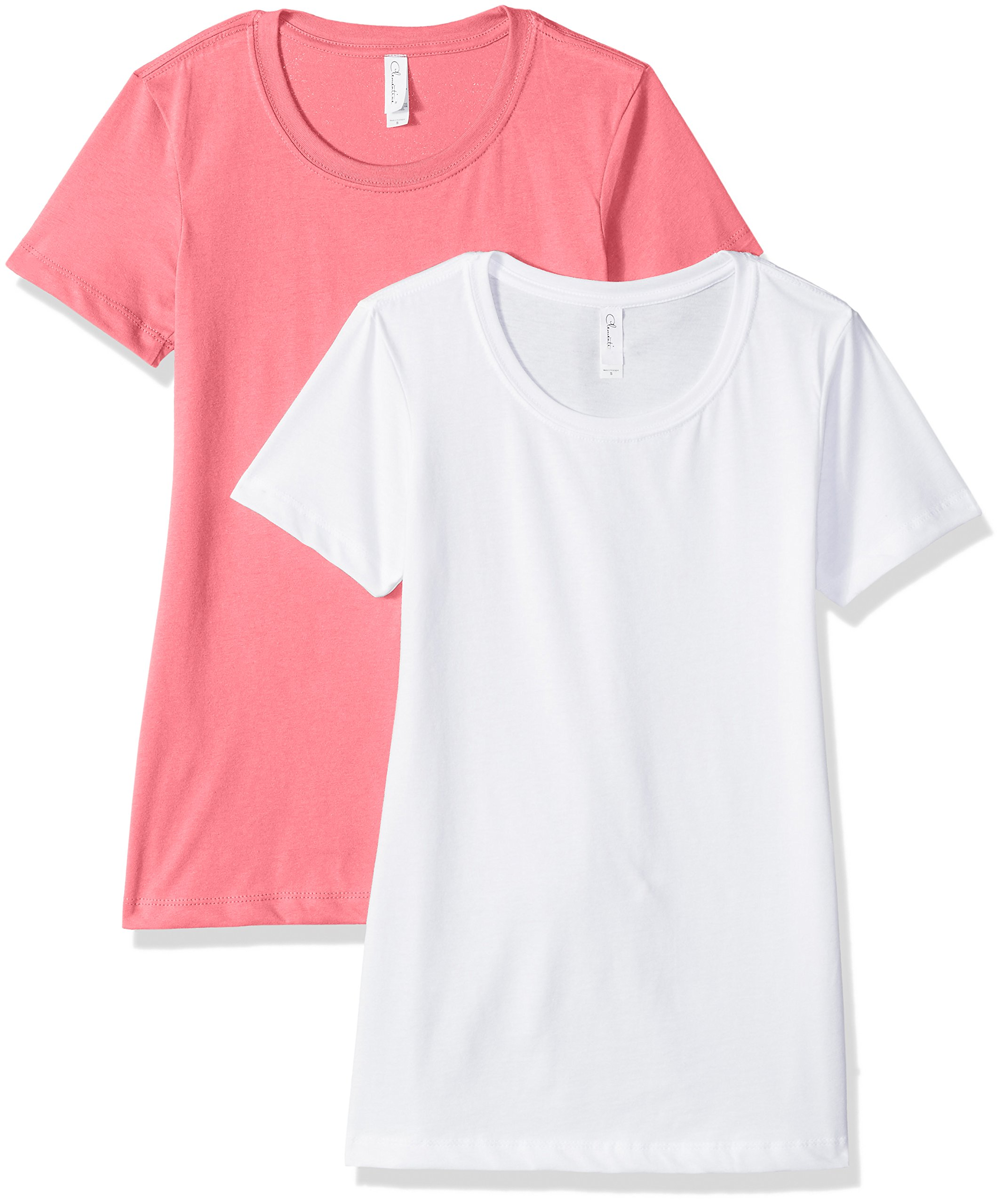 Clementine Apparel Women's Petite Plus Ideal Soft and Trendy Crew Neck Tee (Pack of 2), WhiteHot Pink, XXL
