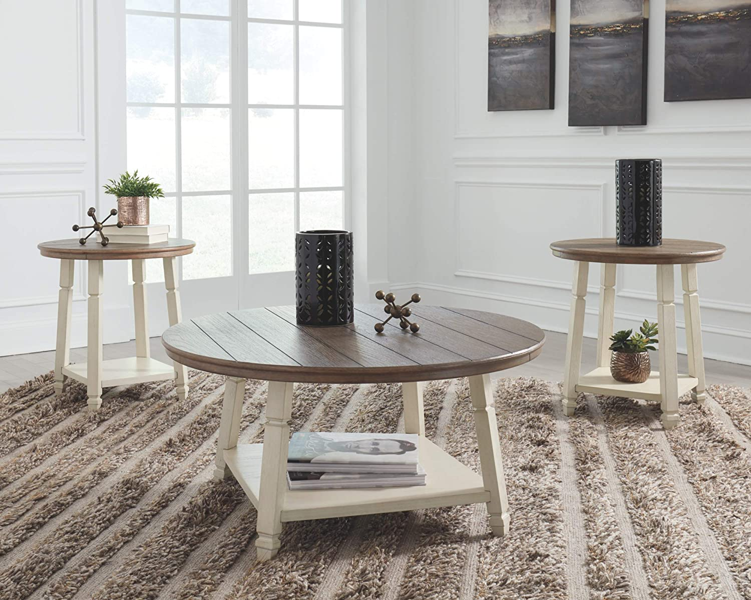 Signature Design by Ashley - Bolanbrook Farmhouse Occasional Coffee Table - Set of 3, Brown Wood/Antique White