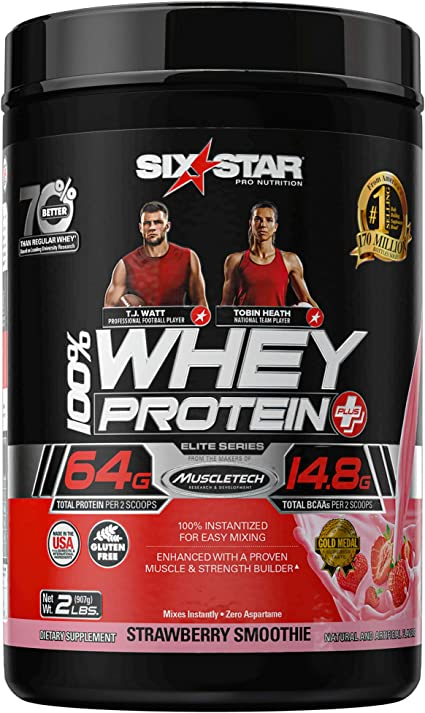 Six Star Pro Nutrition Professional Strength Whey Protein Strawberry Cream Smoothie 2 lbs by Six Star Pro Nutrition