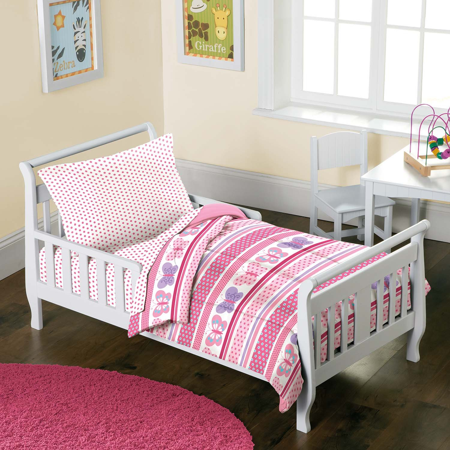 amazoncom butterfly dots pink girls 4piece toddler bedding set home u0026 kitchen