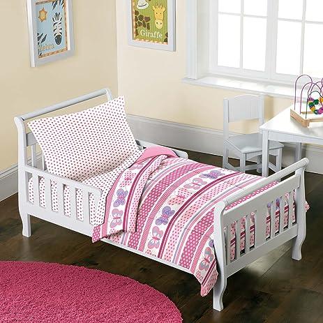Butterfly Dots Pink Girls 4 Piece Toddler Bedding Set