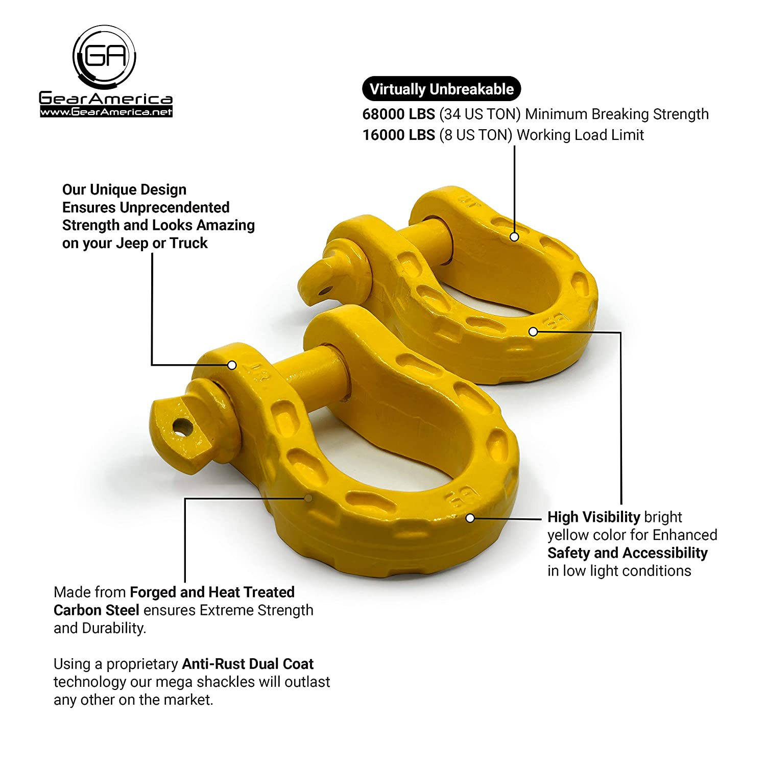 7//8 Pin 34 Ton Securely Connect Tow Strap or Winch Rope to Jeep for Off-Road Recovery Washers GearAmerica Mega Duty D Ring Shackles Galvanized 2PK 3//4 Shackle | 68000 lbs Tested Strength