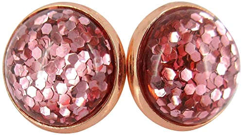 Glitter resin rose stud earrings