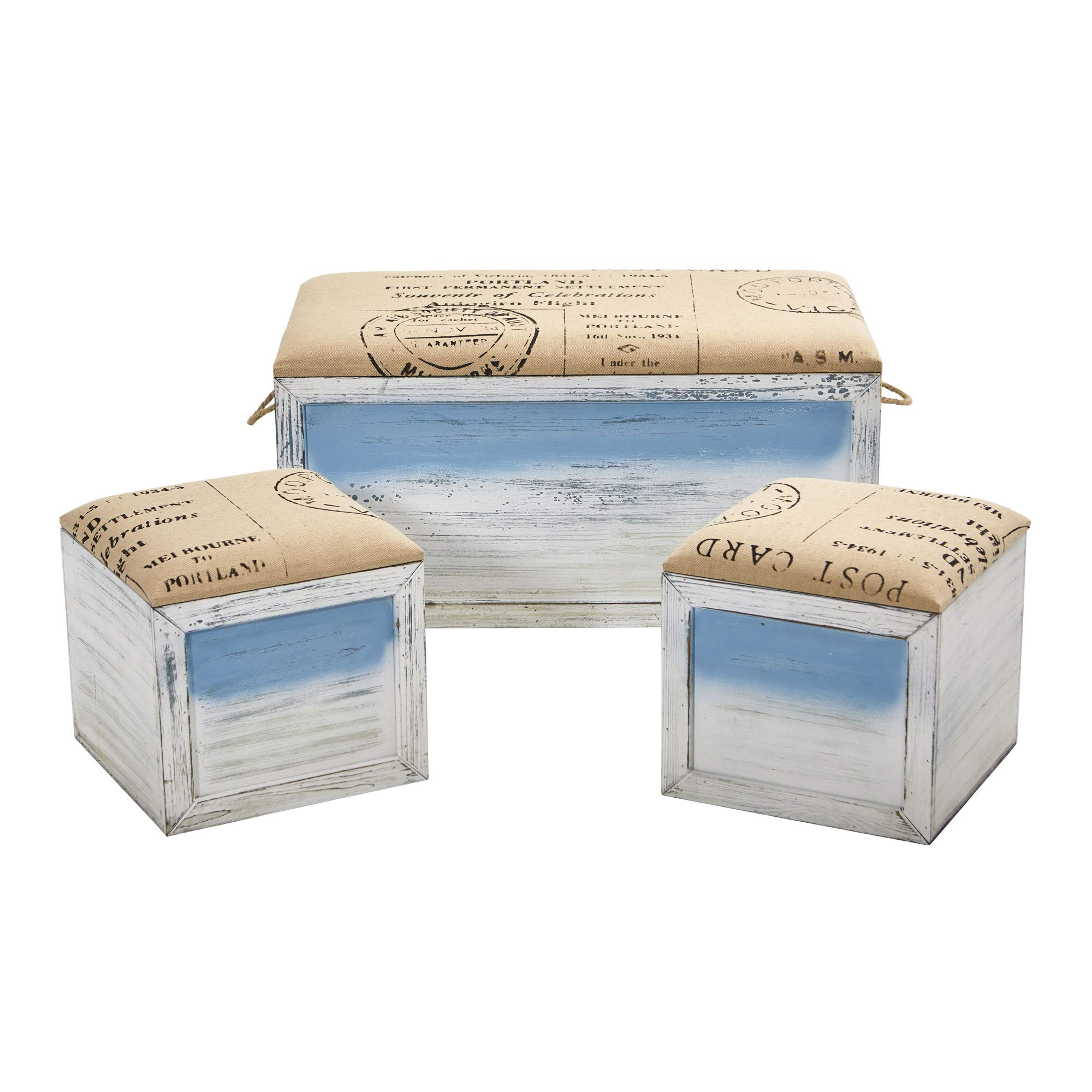 GREATHOPES Ocean Breeze Storage Boxes Bench and Seating Set (Set of 3) Silk Flowers