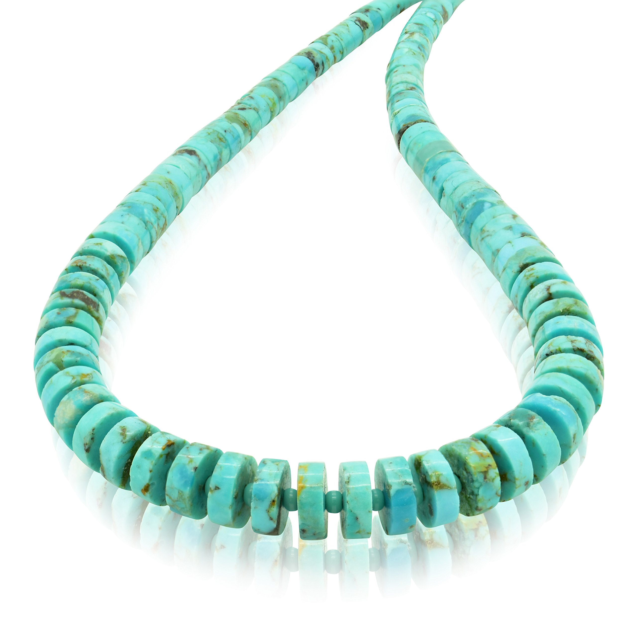 Bluejoy Genuine Natural Turquoise Graduating Heishi Necklace with Elegant Seed Spacer and Lobster Clasp by Bluejoy