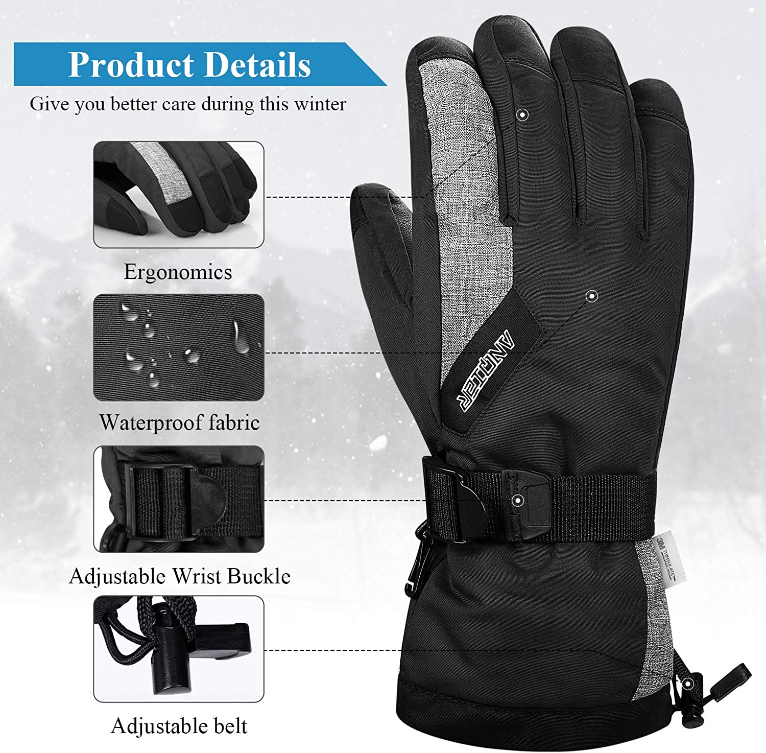 LANYI Winter Gloves for Men Women Thinsulate Waterproof Ski Thermal Gloves Snowboard Fleece Warm Snow Cold Weather Gloves