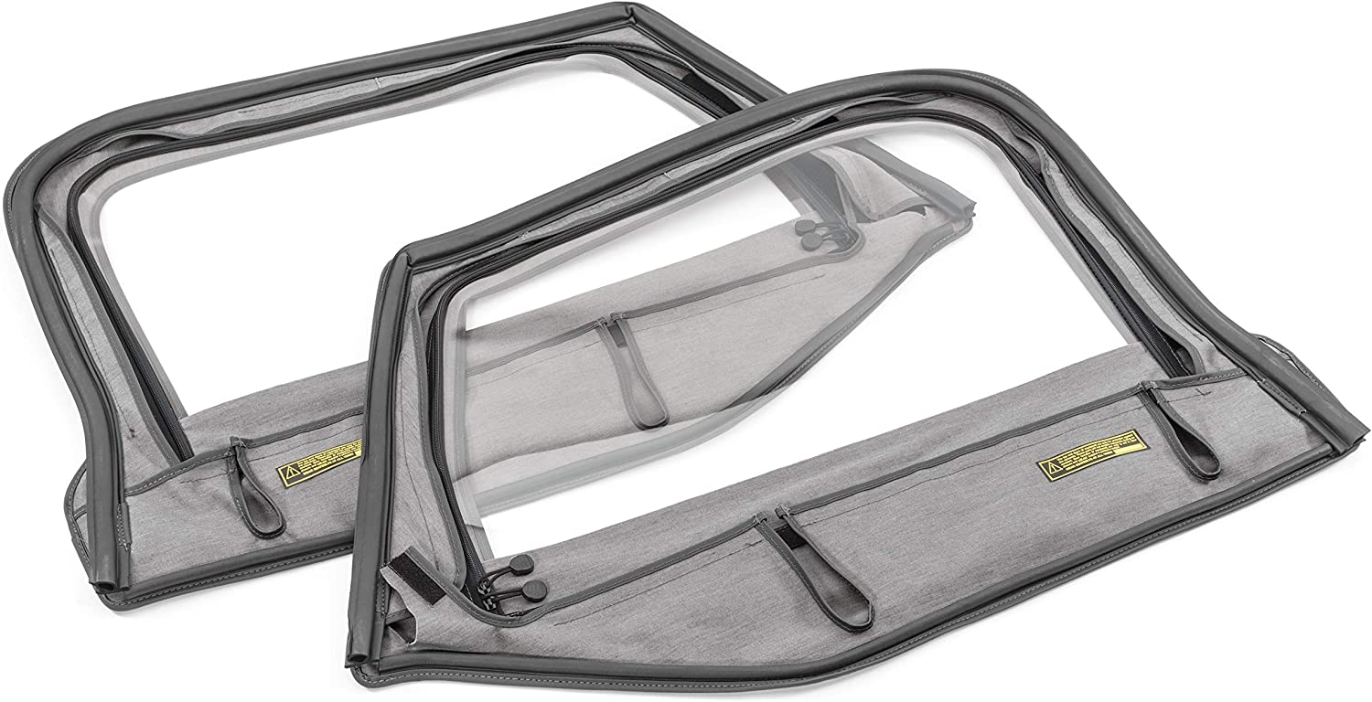 WHITCO 36019215 Pair of Replacement Doorskins 1997-2006 TJ Jeep Wrangler Black Denim OEM Factory Style Soft Top Left and Right Upper 1//2 Door Frame Covers